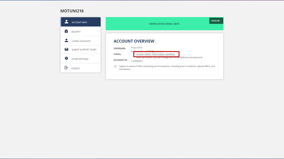 HI-REZアカウント作成後「PLEASE VERIFY YOUR EMAIL ADDRESS」をクリックし、認証メールを受け取る