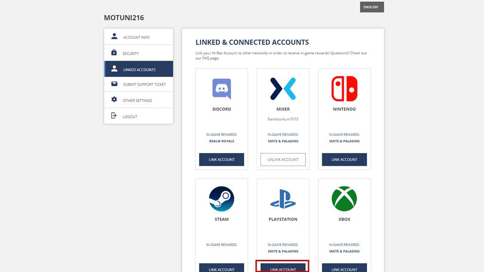 「MIXER」のボタンが「UNLINK ACCOUNT」になったら連携完了。次は「PLAY STATION」の「LINK ACCOUNT」をクリック
