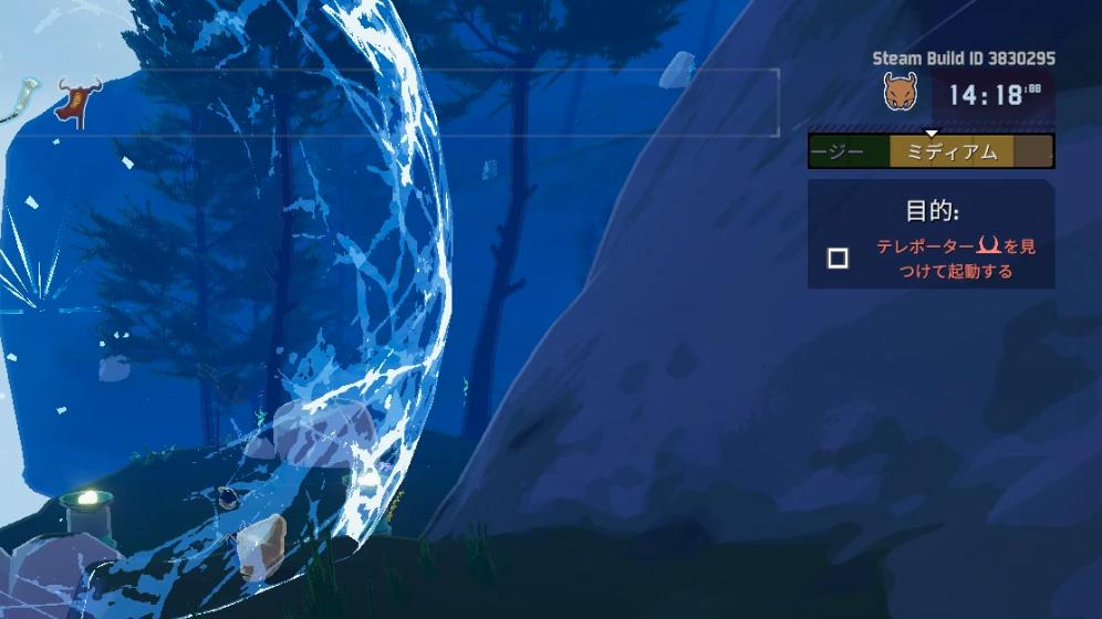 画面右上にゲージとカウントアップタイマーがあります。