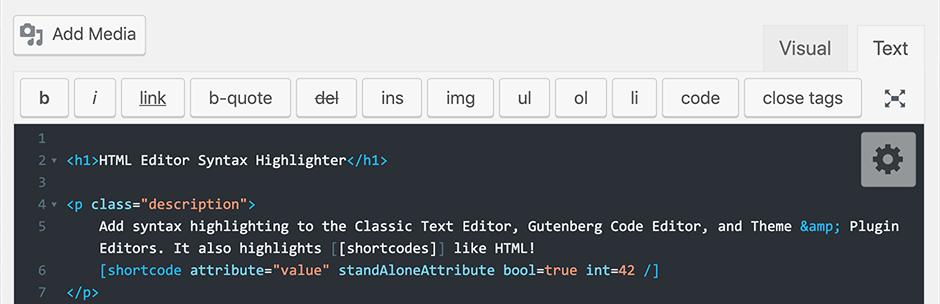 HTML Editor Syntax Highlighter