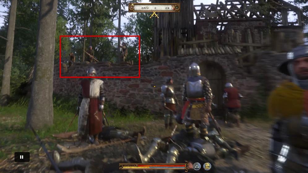弓兵がこちらの射程外から攻撃してきます